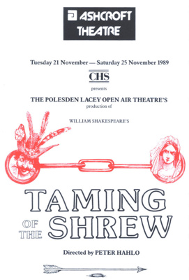 PROGRAMME THEATRE SHAKESPEARE; NOV 1989; 198911FI