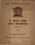 PROGRAMME CROYDON PLAYERS MAN FOR ALL SEASONS ROBERT BOLT; FEB 1964; 196402BK