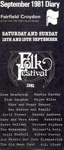 FAIRFIELD DIARY COVER FOLK FESTIVAL DAVE SWARBRICK MARTIN CARTHY DICK GAUGHN MIKE AND OEGGY SEEGER; SEP 1981; 198109FA