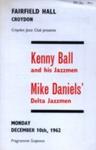 PROGRAMME CROYDON JAZZ CLUB KENNY BALL; DEC 1962; 196212BG