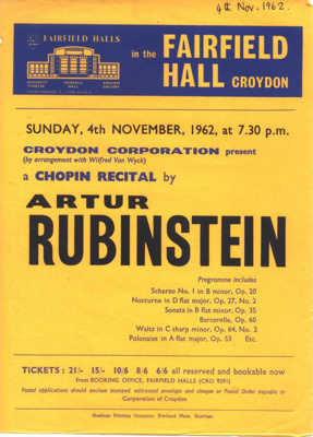 FLYER ARTHUR RUBENSTEIN CLASSICAL CHOPIN SMALL; NOV 1962; 196211CH