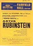 FLYER ARTHUR RUBENSTEIN CLASSICAL CHOPIN SMALL; NOV 1962; 196211CH
