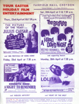 FLYER FILMS THE BEATLES LOLITA NIGHT TO REMEMBER JULIUS CAESAR; APR 1965; 196504BE
