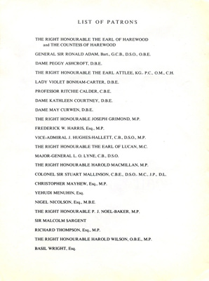 PROGRAMME NATIONAL APPEAL FUND OF THE UNITED NATIONS ASSOCIATION LIST OF FAIRFIELD PATRONS; MAY 1963