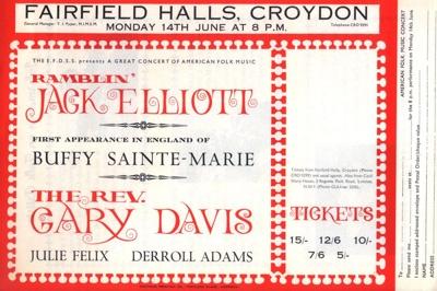 FLYER FOLK BLUES RAMBLIN JACK ELLIOTT BUFFY SAINTE-MARIE GARY DAVIS JULIE FELIX; JUN 1965; 196506BG