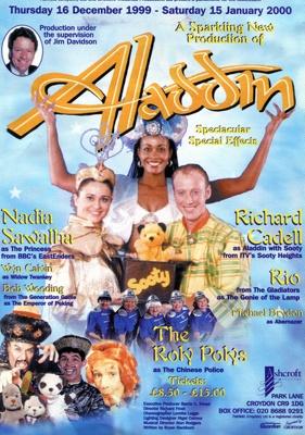FLYER PANTO CHRISTMAS ALADDIN NADIA SAWALHA RICHARD CADELL AND SOOTY ; DEC 1999; 199912FA