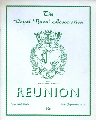 PROGRAMME ROYAL NAVAL ASSOCIATION REUNION; SEP 1973; 197309BB