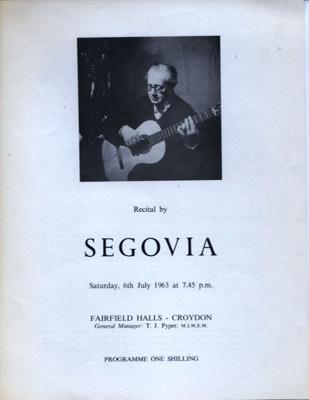 PROGRAMME CLASSICAL SEGOVIA; JUL 1963; 196307BE