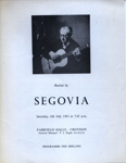 PROGRAMME CLASSICAL SEGOVIA; JUL 1963; 196307BE