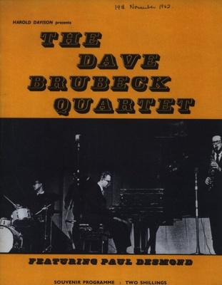 PROGRAMME JAZZ DAVE BRUBECK QUARTET; NOV 1962; 196211DH