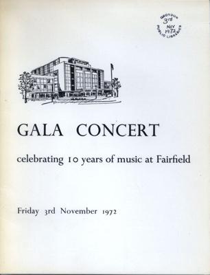 PROGRAMME TEN YEAR ANIVERSARY GALA CONCERT WYNFORD; NOV 1972; 197211BB