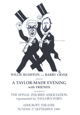 PROGRAMME COMEDY WILLIE RUSHTON BARRY CRYER SPINAL INJURIES ASSOCATION; SEP 1989; 198909FK