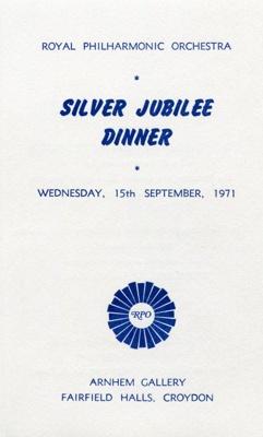 MENU ROYAL PHILHARMONIC ORCHESTRA ROP SILVER JUBILEE DINNER ARNHEM GALLERY; SEP 1971; 197109FA