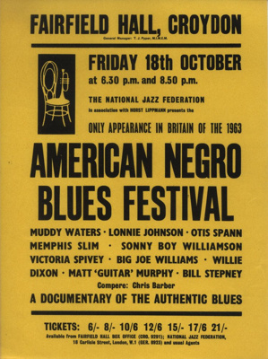 FLYER AMERICAN NEGRO BLUES FESTIVAL MUDDY WATERS MEMPHIS SLIM SONNY BOY WILLIAMSON MATT GUITAR MURPHY; OCT 1963; 196310BI