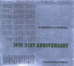 PROGRAMME MUSIC KINGSDALE SCHOOL CONCERT 21ST ANNIVERSARY; JUL 1979; 197907FA