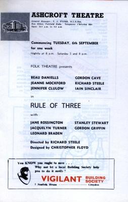PROGRAMME ASHCROFT THEATRE AGATHA CHRISTIE JANE ROSSINGTON; SEP 1966; 196609BO