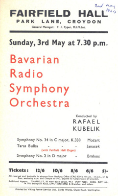 FLYER CLASSICAL BAVARIAN RADIO SYMPHONY ORCHESTRA; MAY 1964; 196405BC