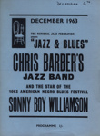 PROGRAMME CHRIS BARBER SONNY BOY WILLIAMSON; DEC 1963; 196312BI