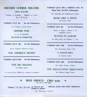 ASHCROFT THEATRE SUMMER PROGRAMME; JUL 1963; 196307BC
