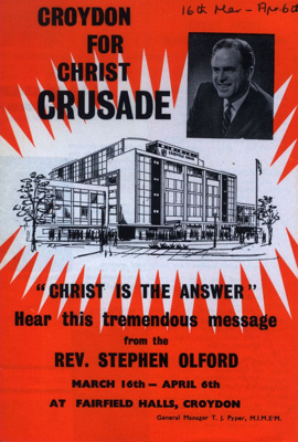 FLYER CROYDON FOR CHRIST CRUSADE; MAR 1963; 196303BS