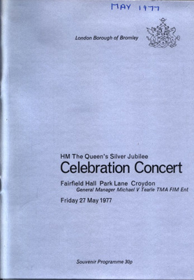 PROGRAMME QUEENS SILVER JUBILEE CELEBRATION CONCERT; MAY 1977; 197705BE