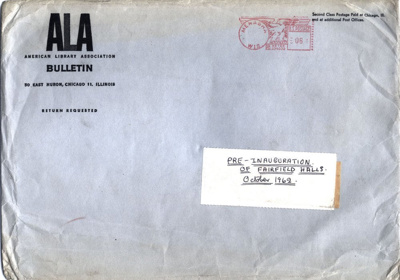 ENVELOPE INVITATION CLASSICAL TEST CONCERT; OCT 1962; 196210BA