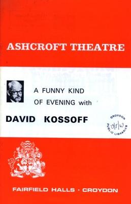 PROGRAMME ASHCROFT THEATRE DAVID KOSSOFF; MAY 1969; 196905BE