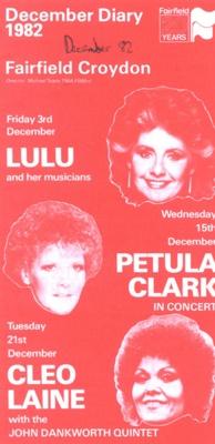 DIARY COVER LULU PETULA CLARK CLEO LAINE; DEC 1982; 198312FA