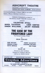 PROGRAMME ASHCROFT THEATRE ROYAL COURT THEATRE CASE OF THE FRIGHTENED LADY VALENTINE DYALL SIMON WILLIAMS JULIET HARMER; MAR 1969; 196903BK