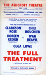 FLYER ASHCROFT THEATRE THE FULL TREATMENT CORONATION STREET; OCT 1966; 196610BO