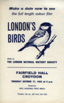 FLYER LONDONS BIRDS FILM; OCT 1963; 196310BG