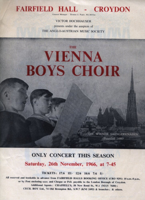 FLYER VIENNA BOYS CHOIR; NOV 1966; 196611BK