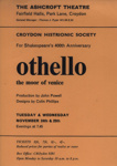FLYER OTHELLO MOOR OF VENICE CROYDON HISTRONIC SOCIETY; NOV 1964; 196411BI