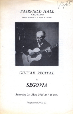 PROGRAMME CLASSICAL SEGOVIA; MAY 1965; 196505BC