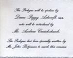 INVITE PEGGY ASHCROFT ANDREW CRUICKSHANK JOHN BETJEMAN ASHCROFT OPENING NIGHT; NOV 1962; 196211BW