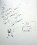 TOM HANKS AUTOGRAPH DRAWING AFTER FILMING OF THE DA VINCI CODE; OCT 2005
