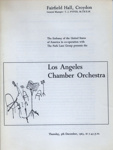 PROGRAMME CLASSICAL LA CHAMBER ORCHESTERA; DEC 1963; 196312BG