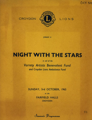PROGRAMME NIGHT WITH THE STARS CROYDON LIONS; OCT 1965; 196510BC