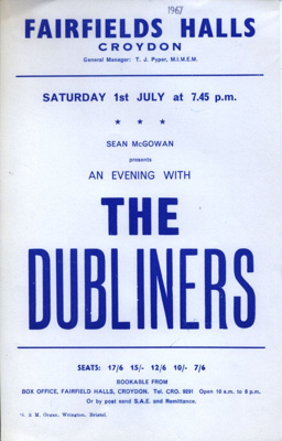 FLYER THE DUBLINERS; JUL 1967; 196707BG