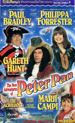 FLYER PANTO CHRISTMAS PETER PAN PHILIPPA FORRESTER PAUL BRADLEY; DEC 1995; 199512FA