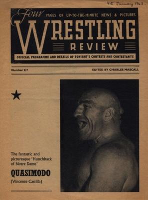 PROGRAMME WRESTLING QUASIMODO; JAN 1963; 196301BC