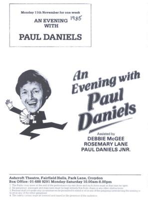 PROGRAMME PAUL DANIELS DEBBIE MCGEE; NOV 1985; 198511FA