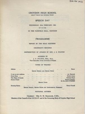PROGRAMME CROYDON HIGH SCHOOL SPEECH DAY; FEB 1963; 196302BG