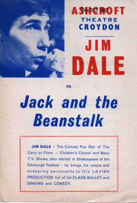FLYER JIM DALE JACK AND THE BEANSTALK; OCT 1967; 196710BQ