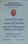 PROGRAMME CLASSICAL CROYDON SYMPHONY ORCHESTRA ARTHUR DAVIDSON; NOV 1962; 196211CP