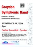 CROYDON SYMPHONIC BAND - FLYER; JUL 2014; 201407NB