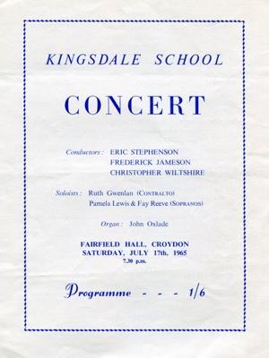PROGRAMME KINGSDALE SCHOOL CLASSICAL; JUL 1965; 196507FA