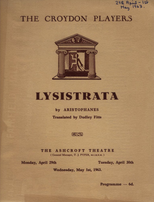 PROGRAMME CROYDON PLAYERS LYSISTRATA ARISTOPHANES; APR 1963; 196304BQ