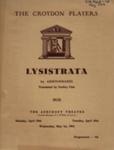 PROGRAMME CROYDON PLAYERS LYSISTRATA ARISTOPHANES; APR 1963; 196304BQ
