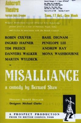 ASHCROFT THEATRE BERNARD SHAW MISS ALLIANCE MONA WASHBOURNE; OCT 1967; 196710BI